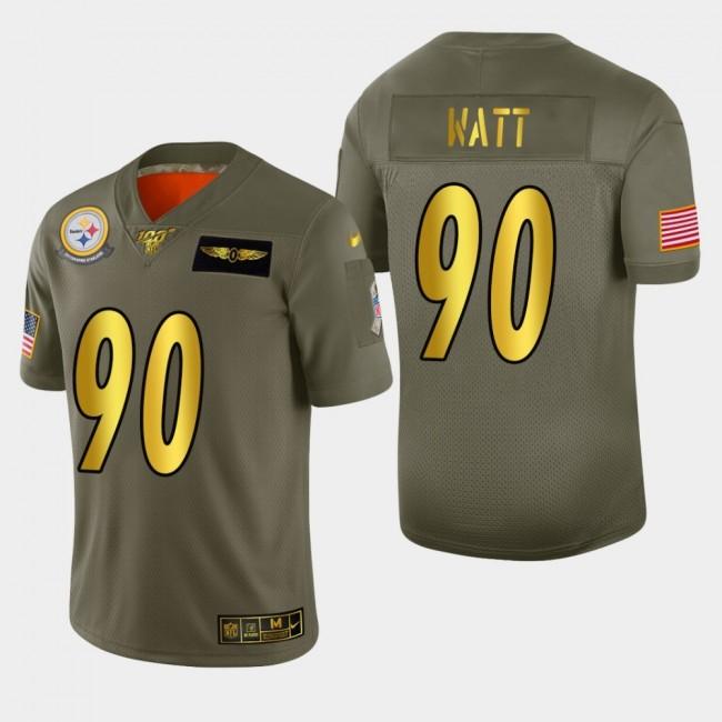 Nike Steelers #90 T.J. Watt Men's Olive Gold 2019 Salute to Service NFL 100 Limited Jersey
