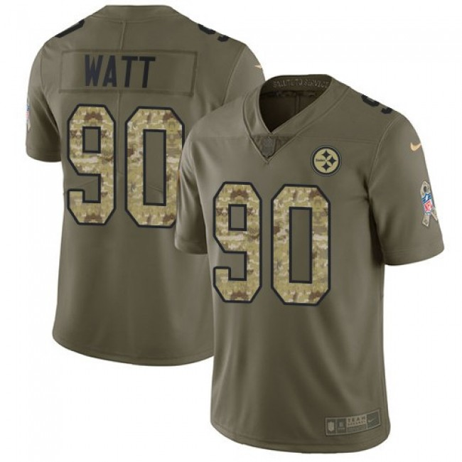 Nike Steelers #90 T. J. Watt Olive/Camo Men's Stitched NFL Limited 2017 Salute To Service Jersey