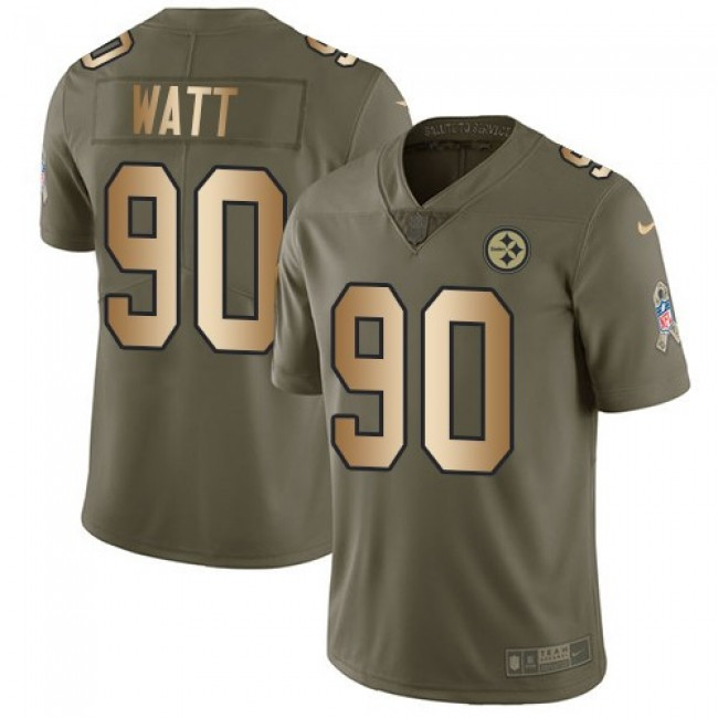 Nike Steelers #90 T. J. Watt Olive/Gold Men's Stitched NFL Limited 2017 Salute To Service Jersey