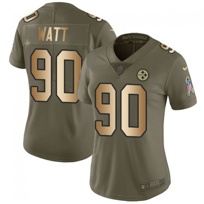 Women's Steelers #90 T. J. Watt Olive Gold Stitched NFL Limited 2017 Salute to Service Jersey