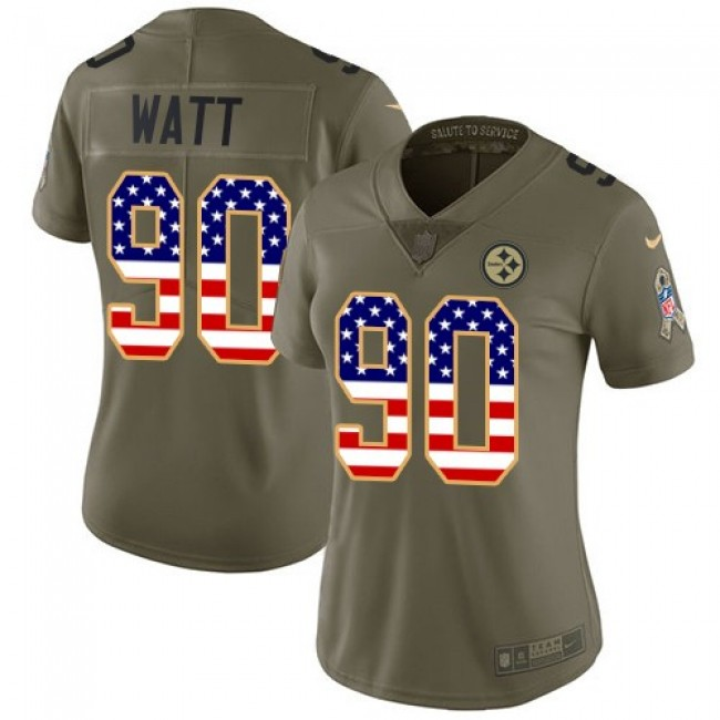 Women's Steelers #90 T. J. Watt Olive USA Flag Stitched NFL Limited 2017 Salute to Service Jersey