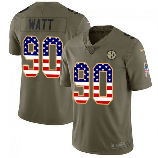 Pittsburgh Steelers #90 T. J. Watt Olive-USA Flag Youth Stitched NFL Limited 2017 Salute to Service Jersey