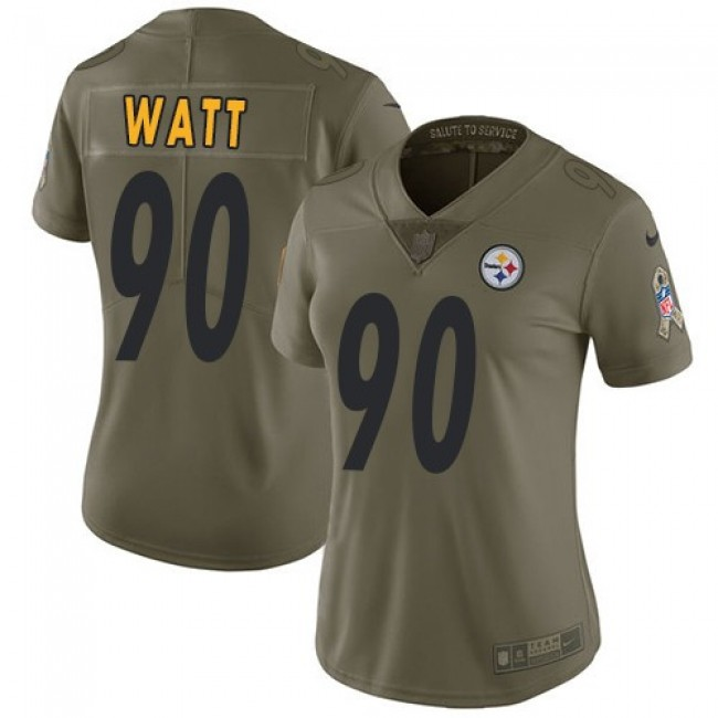 Women's Steelers #90 T. J. Watt Olive Stitched NFL Limited 2017 Salute to Service Jersey