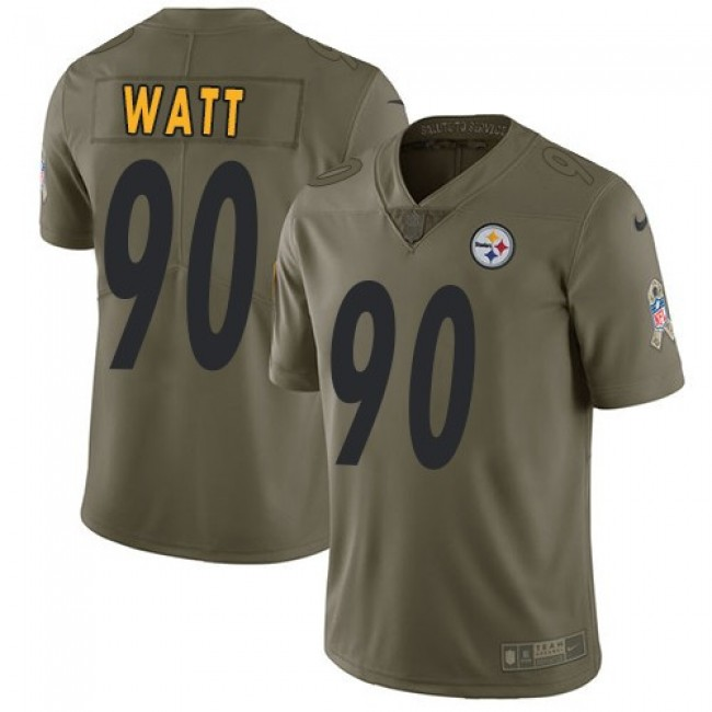 Pittsburgh Steelers #90 T. J. Watt Olive Youth Stitched NFL Limited 2017 Salute to Service Jersey