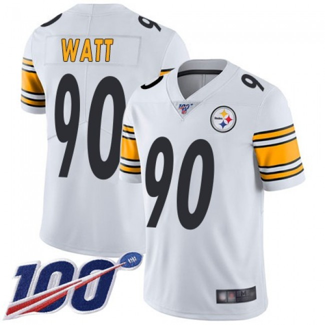 Nike Steelers #90 T. J. Watt White Men's Stitched NFL 100th Season Vapor Limited Jersey