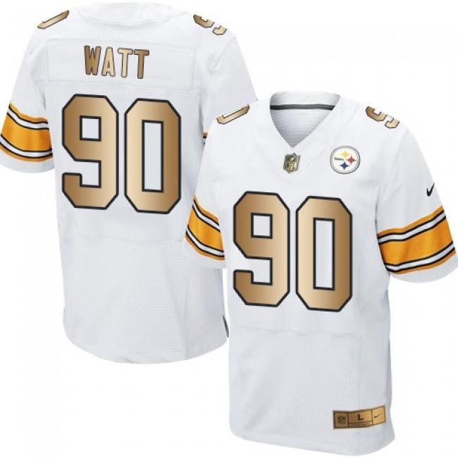 Nike Steelers #90 T. J. Watt White Men's Stitched NFL Elite Gold Jersey