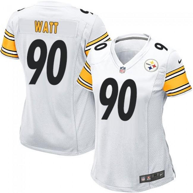 Women's Steelers #90 T. J. Watt White Stitched NFL Elite Jersey