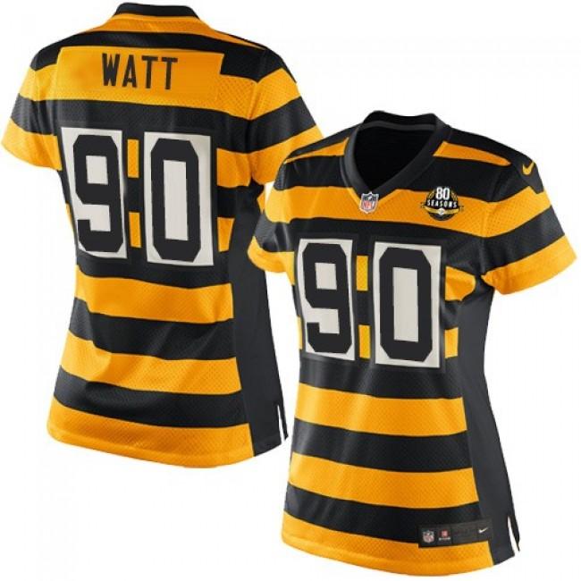 Women's Steelers #90 T. J. Watt Yellow Black Alternate Stitched NFL Elite Jersey
