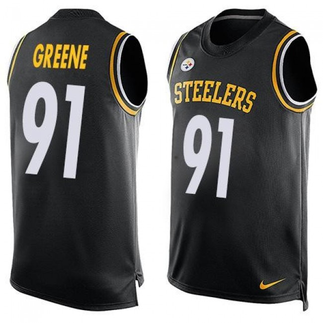 Nike Steelers #91 Kevin Greene Black Team Color Men's Stitched NFL Limited Tank Top Jersey