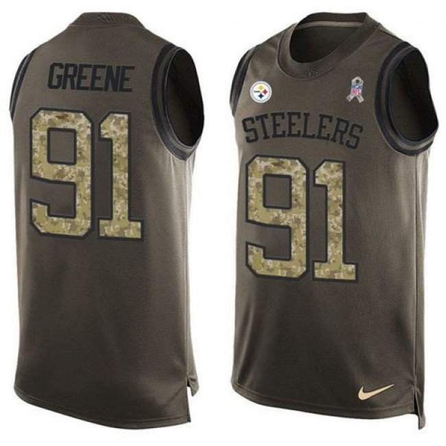 Nike Steelers #91 Kevin Greene Green Men's Stitched NFL Limited Salute To Service Tank Top Jersey