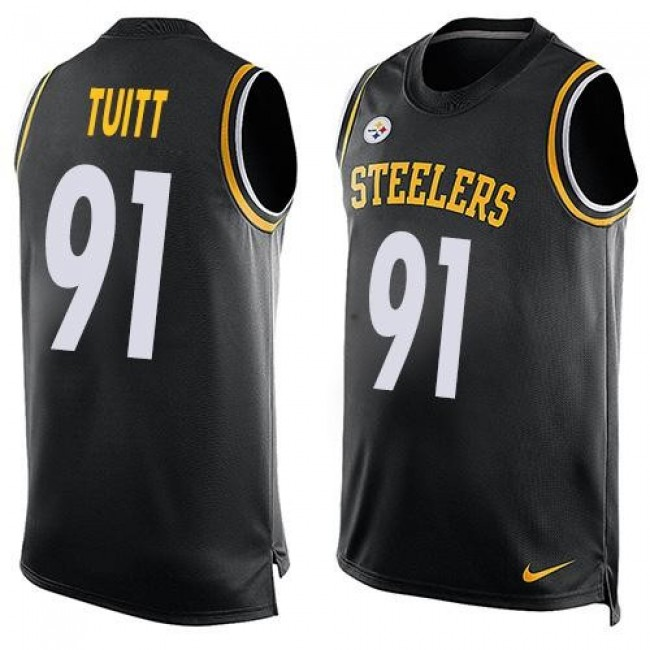 Nike Steelers #91 Stephon Tuitt Black Team Color Men's Stitched NFL Limited Tank Top Jersey