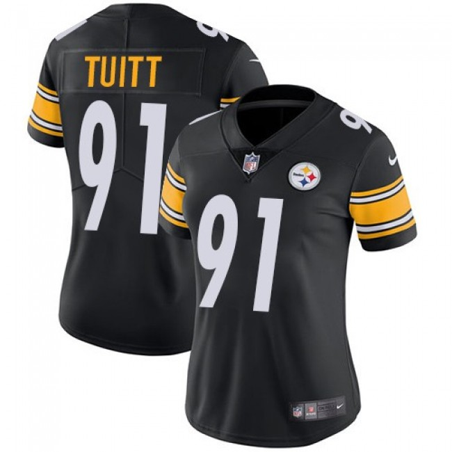 Women's Steelers #91 Stephon Tuitt Black Team Color Stitched NFL Vapor Untouchable Limited Jersey