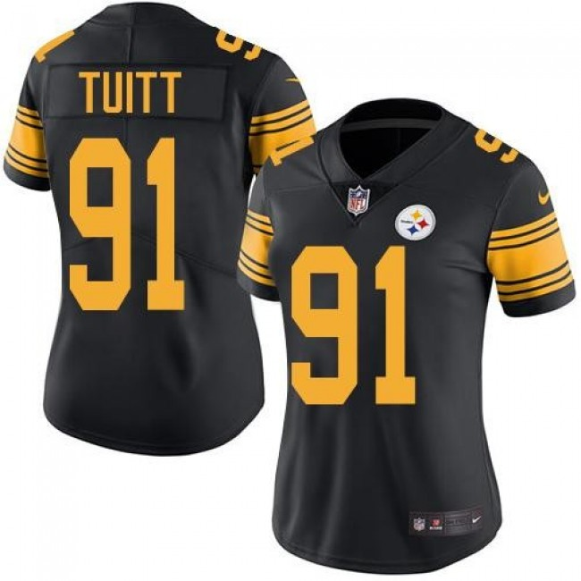 Women's Steelers #91 Stephon Tuitt Black Stitched NFL Limited Rush Jersey