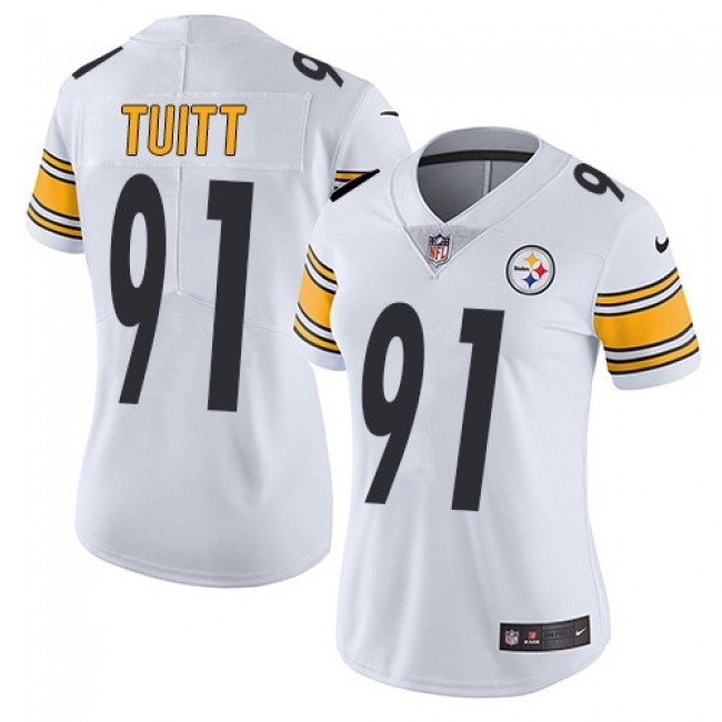 Women's Steelers #91 Stephon Tuitt White Stitched NFL Vapor Untouchable Limited Jersey