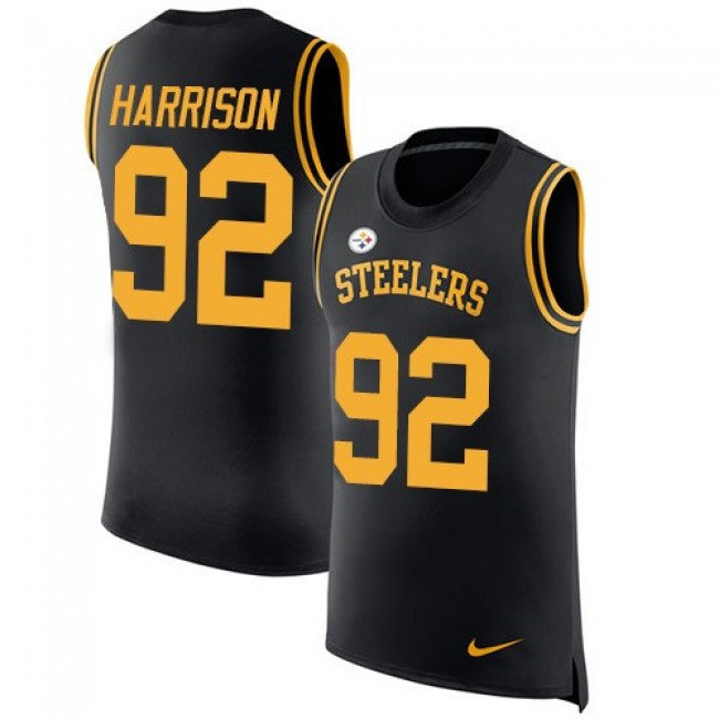 Nike Steelers #92 James Harrison Black Team Color Men's Stitched NFL Limited Rush Tank Top Jersey