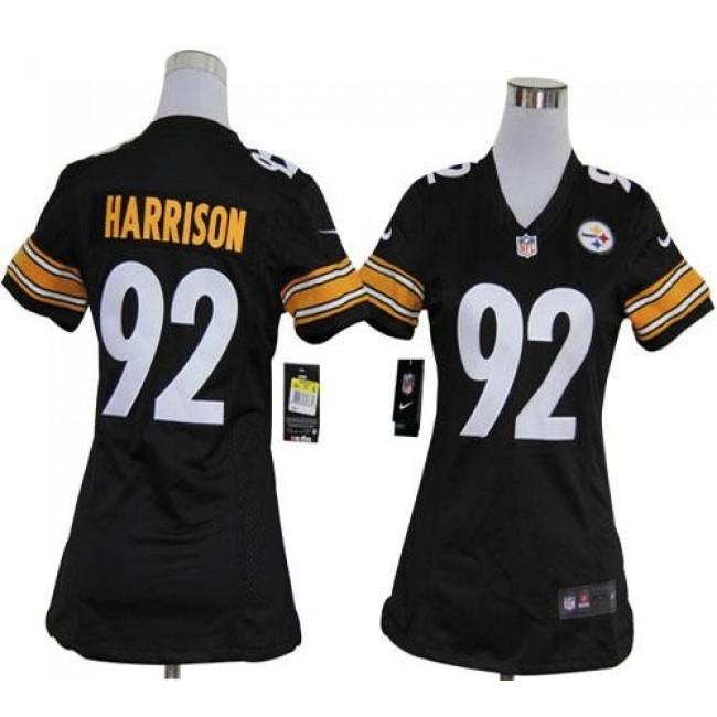 Women's Steelers #92 James Harrison Black Team Color Stitched NFL Elite Jersey