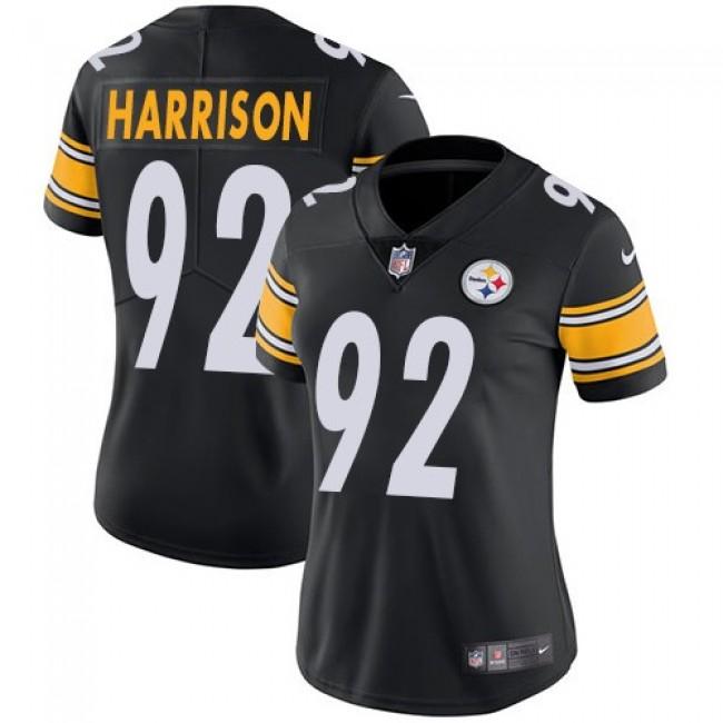Women's Steelers #92 James Harrison Black Team Color Stitched NFL Vapor Untouchable Limited Jersey