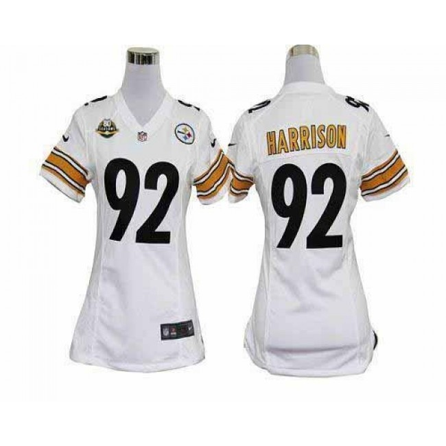 Women's Steelers #92 James Harrison White With 80TH Patch Stitched NFL Elite Jersey