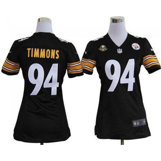 Women's Steelers #94 Lawrence Timmons Black Team Color With 80TH Patch Stitched NFL Elite Jersey