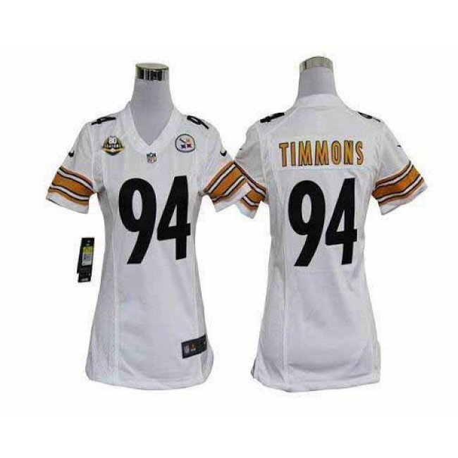 Women's Steelers #94 Lawrence Timmons White With 80TH Patch Stitched NFL Elite Jersey