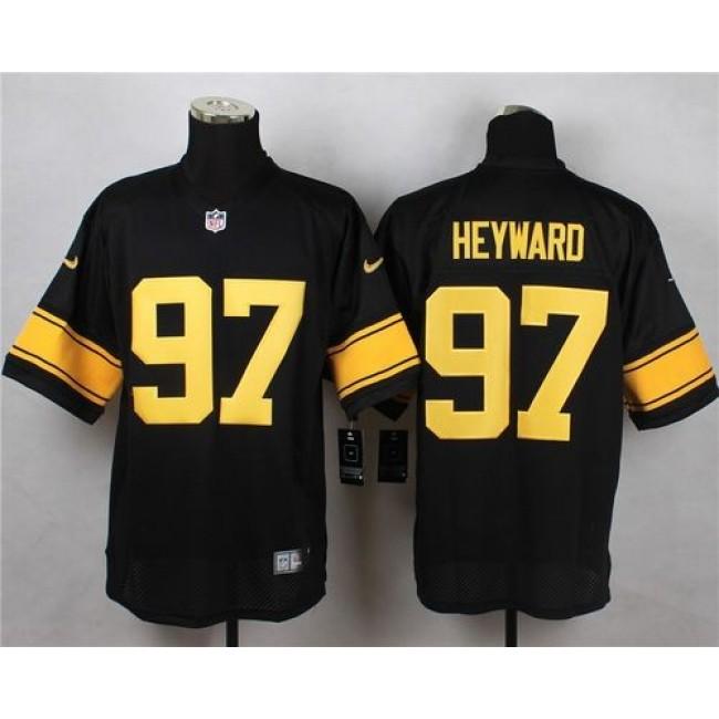 Nike Steelers #97 Cameron Heyward Black(Gold No.) Men's Stitched NFL Elite Jersey