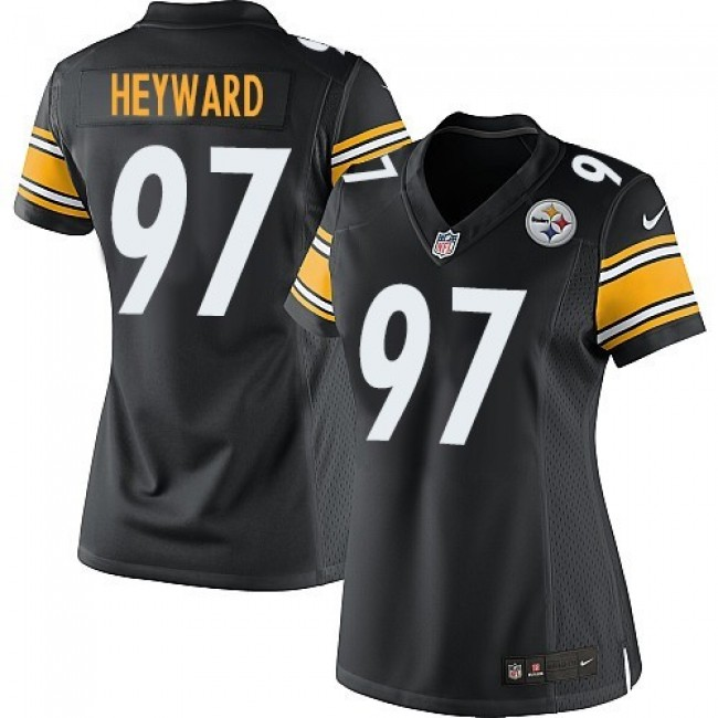 Women's Steelers #97 Cameron Heyward Black Team Color Stitched NFL Elite Jersey