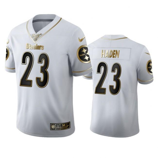Pittsburgh Steelers #23 Joe Haden Men's Nike White Golden Edition Vapor Limited NFL 100 Jersey