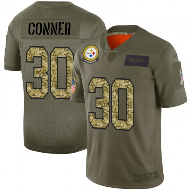 Pittsburgh Steelers #30 James Conner Men's Nike 2019 Olive Camo Salute To Service Limited NFL Jersey