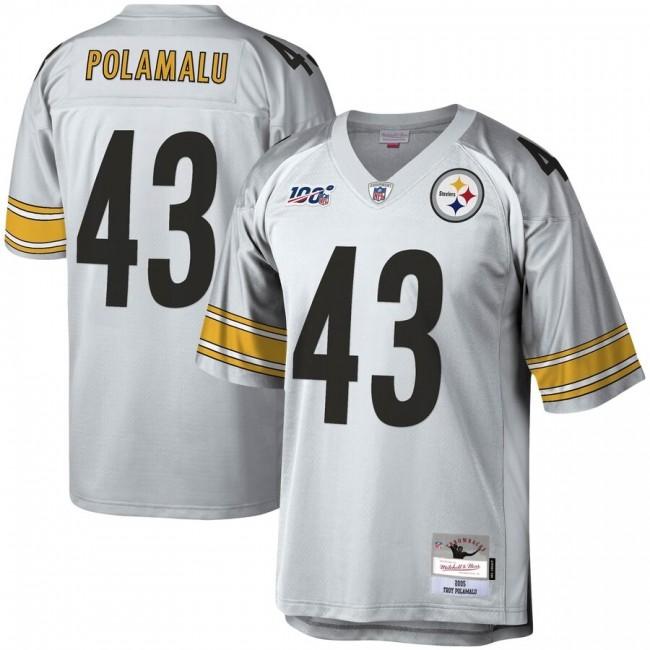 Pittsburgh Steelers #43 Troy Polamalu Mitchell & Ness NFL 100 Retired Player Platinum Jersey