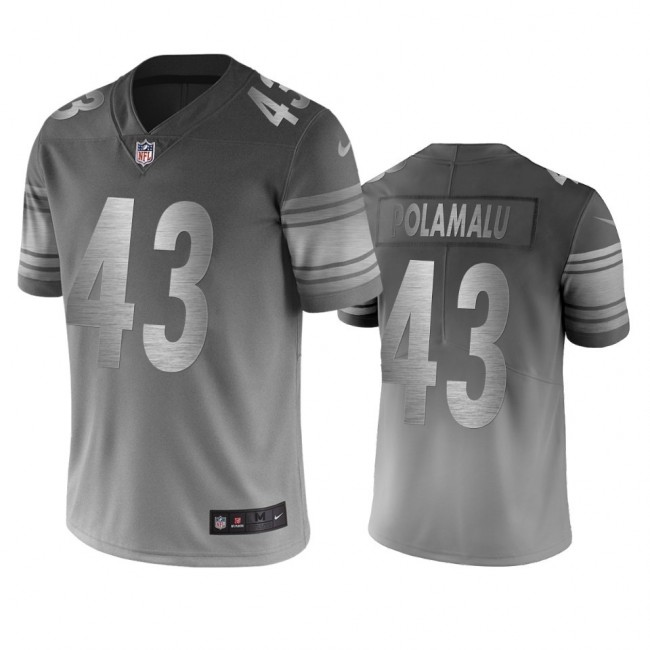 Pittsburgh Steelers #43 Troy Polamalu Silver Gray Vapor Limited City Edition NFL Jersey