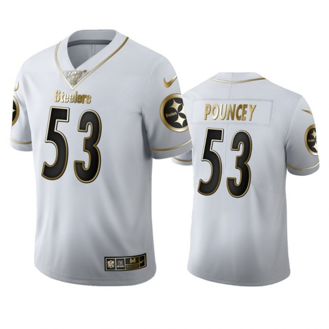 Pittsburgh Steelers #53 Maurkice Pouncey Men's Nike White Golden Edition Vapor Limited NFL 100 Jersey