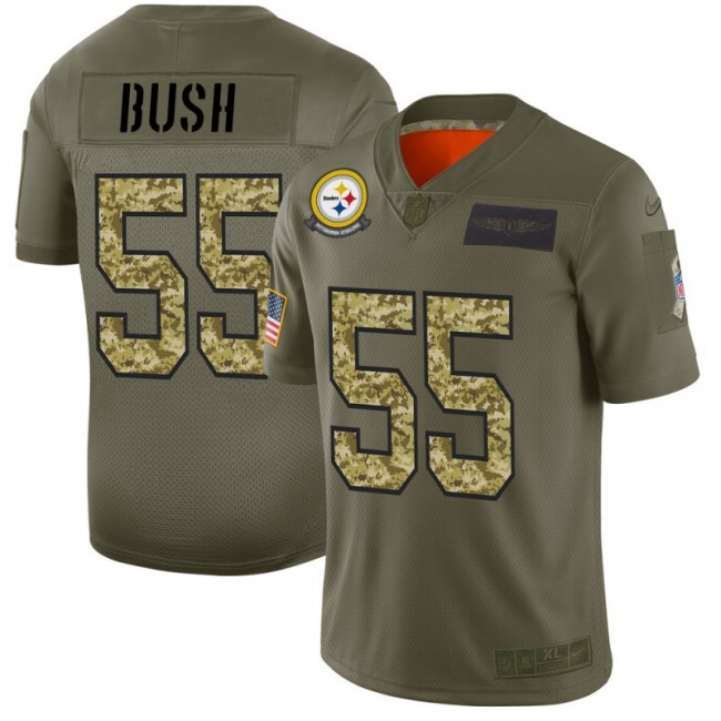 Pittsburgh Steelers #55 Devin Bush Men's Nike 2019 Olive Camo Salute To Service Limited NFL Jersey