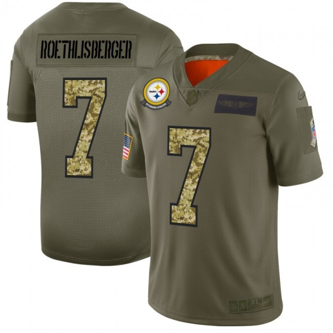 Pittsburgh Steelers #7 Ben Roethlisberger Men's Nike 2019 Olive Camo Salute To Service Limited NFL Jersey