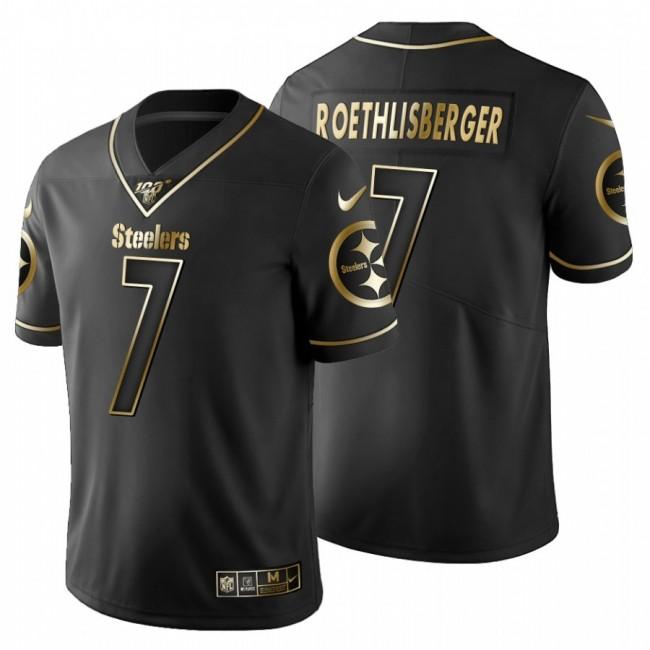 Pittsburgh Steelers #7 Ben Roethlisberger Men's Nike Black Golden Limited NFL 100 Jersey