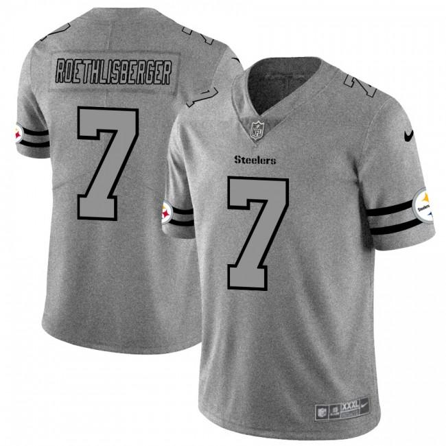 Pittsburgh Steelers #7 Ben Roethlisberger Men's Nike Gray Gridiron II Vapor Untouchable Limited NFL Jersey