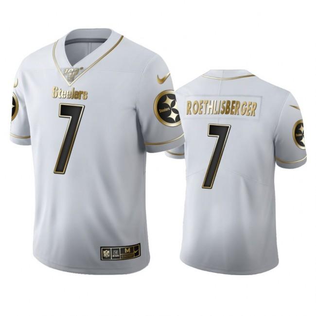 Pittsburgh Steelers #7 Ben Roethlisberger Men's Nike White Golden Edition Vapor Limited NFL 100 Jersey