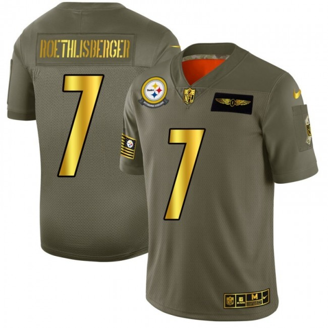 Pittsburgh Steelers #7 Ben Roethlisberger NFL Men's Nike Olive Gold 2019 Salute to Service Limited Jersey