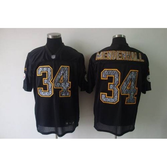 Sideline Black United Steelers #34 Rashard Mendenhall Black Stitched NFL Jersey