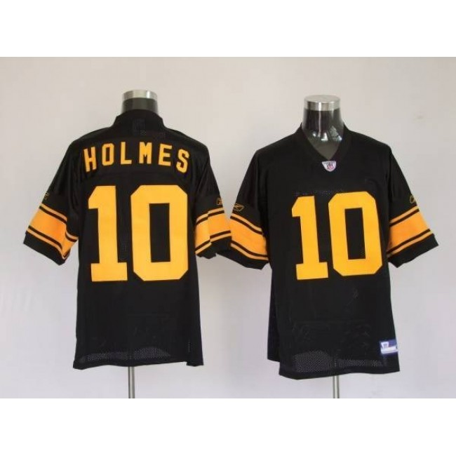 Steelers #10 Santonio Holmes Black With Yellow Number Stitched NFL Jersey