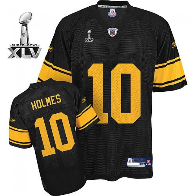 Steelers #10 Santonio Holmes Black With Yellow Number Super Bowl XLV Stitched NFL Jersey