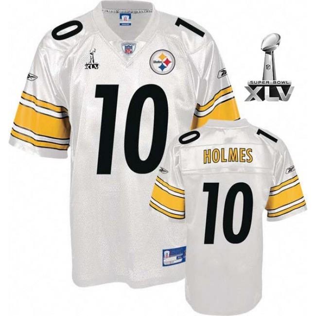 Steelers #10 Santonio Holmes White Super Bowl XLV Stitched NFL Jersey