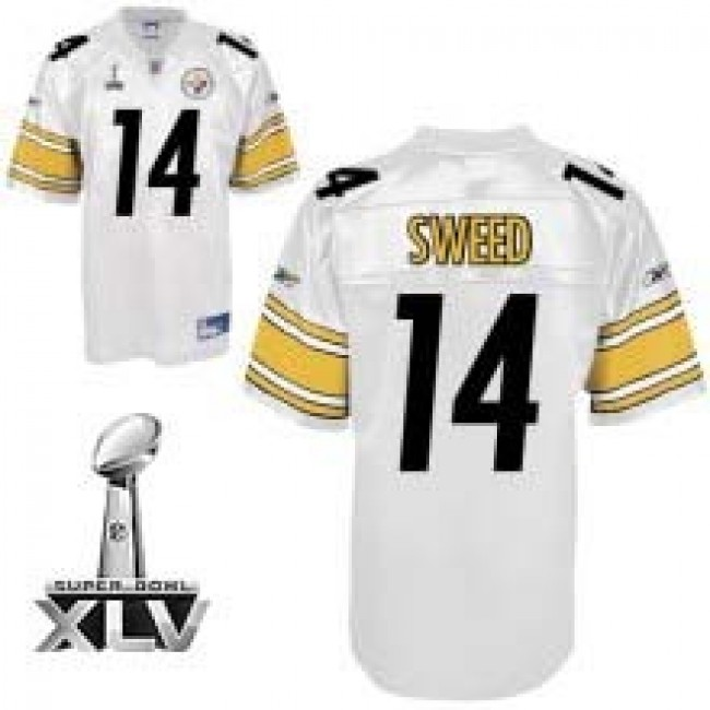 Steelers #14 Limas Sweed White Super Bowl XLV Stitched NFL Jersey