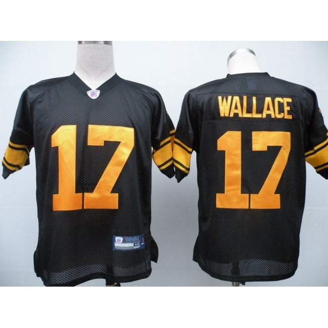 Steelers #17 Mike Wallace Black With Yellow Number Stitched NFL Jersey