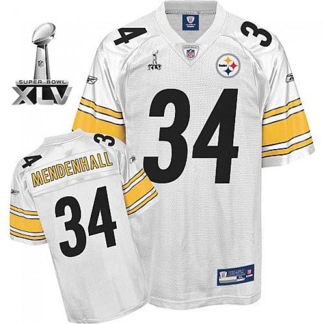 Steelers #34 Rashard Mendenhall White Super Bowl XLV Stitched NFL Jersey