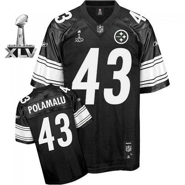 Steelers #43 Troy Polamalu Black Shadow Super Bowl XLV Stitched NFL Jersey