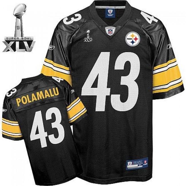 Steelers #43 Troy Polamalu Black Super Bowl XLV Stitched NFL Jersey