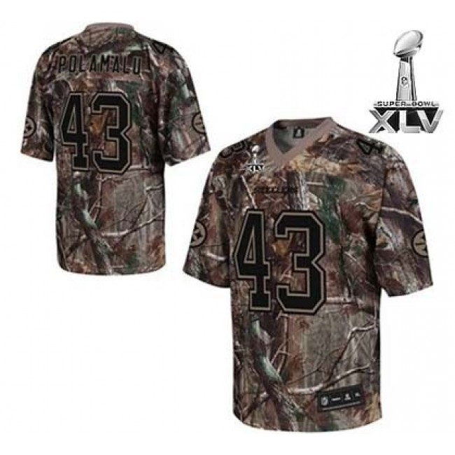 Steelers #43 Troy Polamalu Camouflage Realtree Super Bowl XLV Stitched NFL Jersey