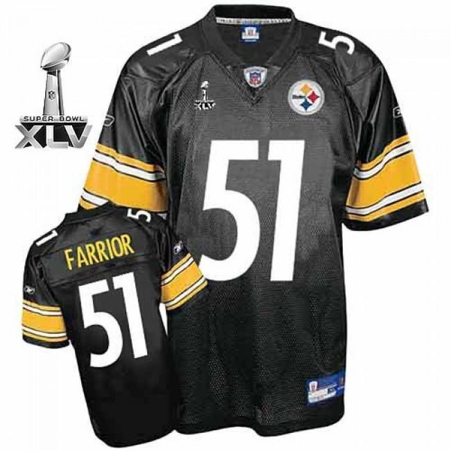 Steelers #51 James Farrior Black Super Bowl XLV Stitched NFL Jersey