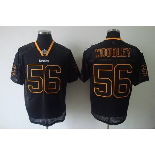 Steelers #56 LaMarr Woodley Lights Out Black Stitched NFL Jersey
