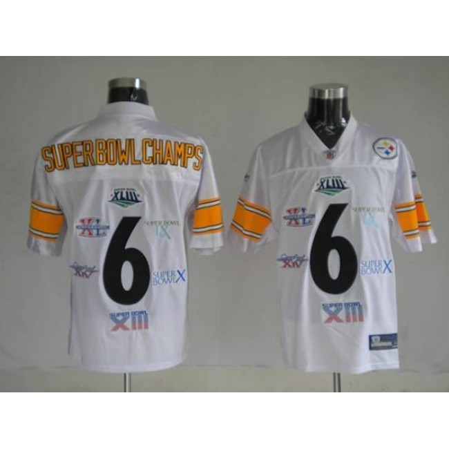 Steelers #6 Super Bowl Champion Patch White Stitched NFL Jersey
